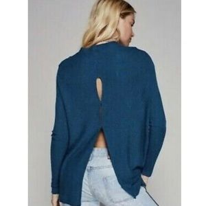 Anthropologie We The Free teal cowl neck sweater